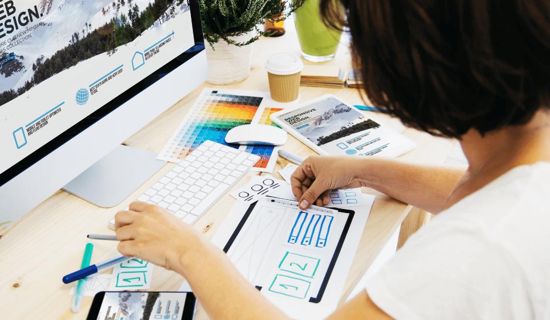 web designer working on mockup